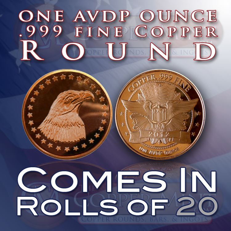 1 Avdp Ounce 999 Fine Copper Bullion Rounds Of The