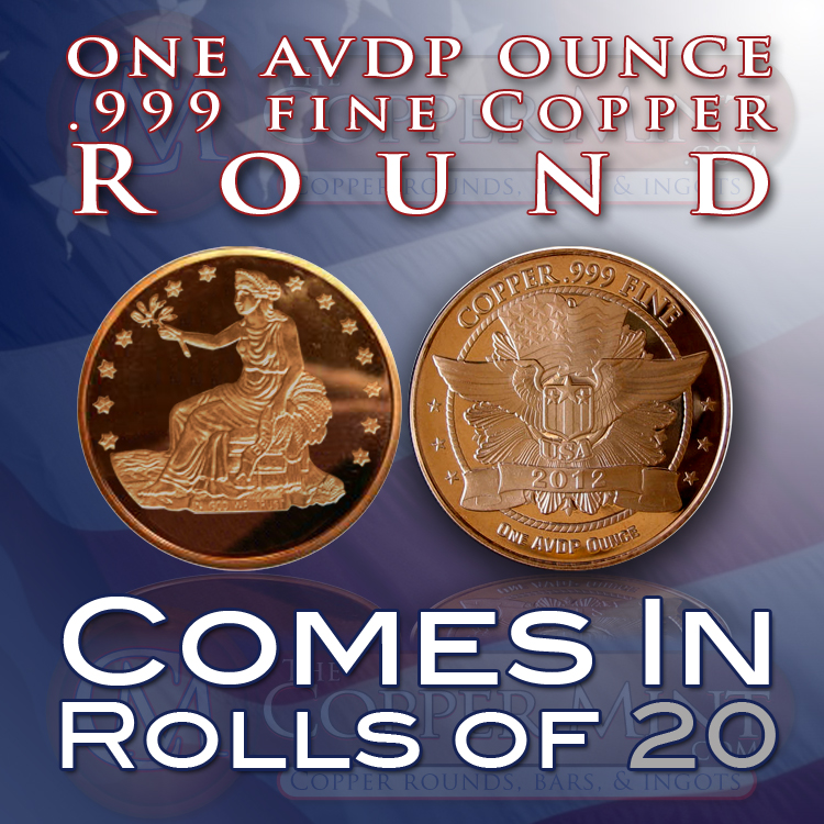 1 Avdp Ounce 999 Fine Copper Bullion Rounds Of The Trade