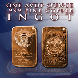 New!!! Copper Ingot: (20) One Ounce Statue of Liberty